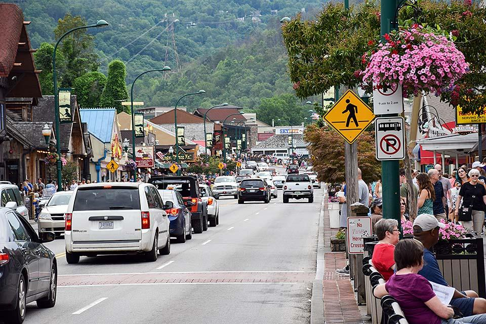 Downtown Gatlinburg is busy in the Summer.