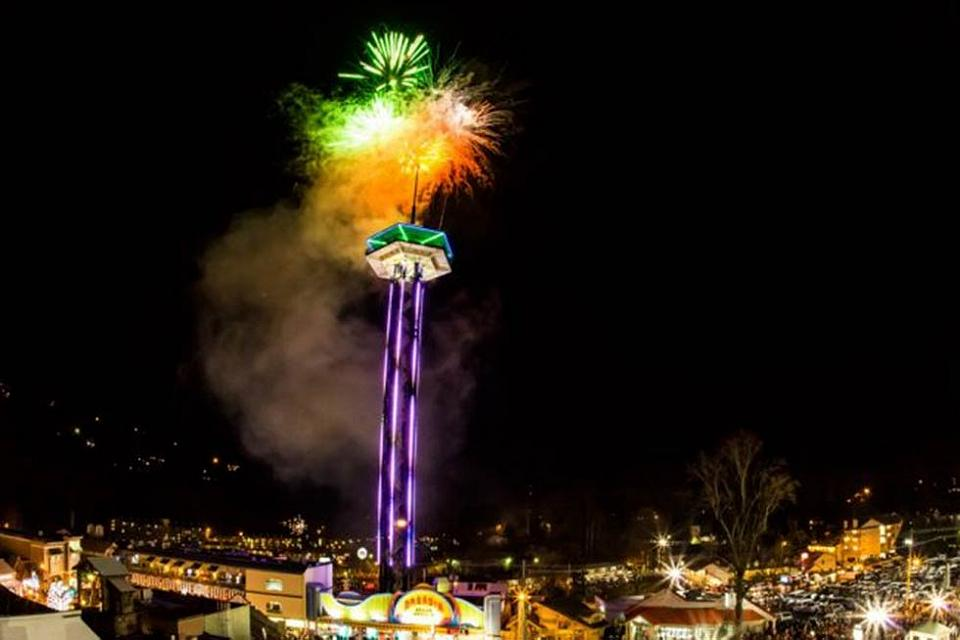New Years ball drop at the Space Needle
